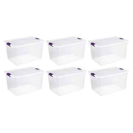 Sterilite 66-Quart Nesting Clear Latching Handle Storage Tote Container, 6 Pack](Clear Storage Bins)