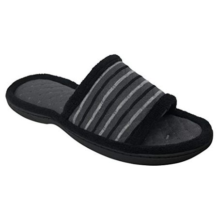 Dearfoams Women's Quilted Stripe Memory Foam Slide Sandals (Large / 9-10 B(M) US, Excalibur) Womens Chest Form
