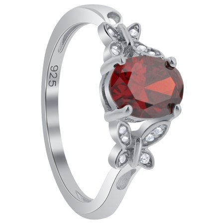 Gem Avenue 925 Sterling Silver Oval Shape Garnet Butterfly Shape Ring Oval Shape Amber Ring