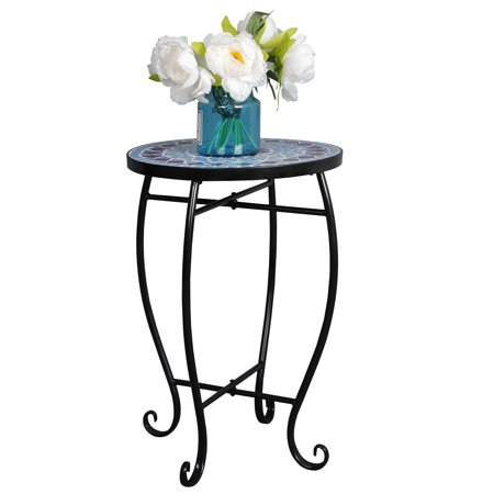 Zeny Mosaic Round Side Accent Table Patio Plant Stand Porch Beach