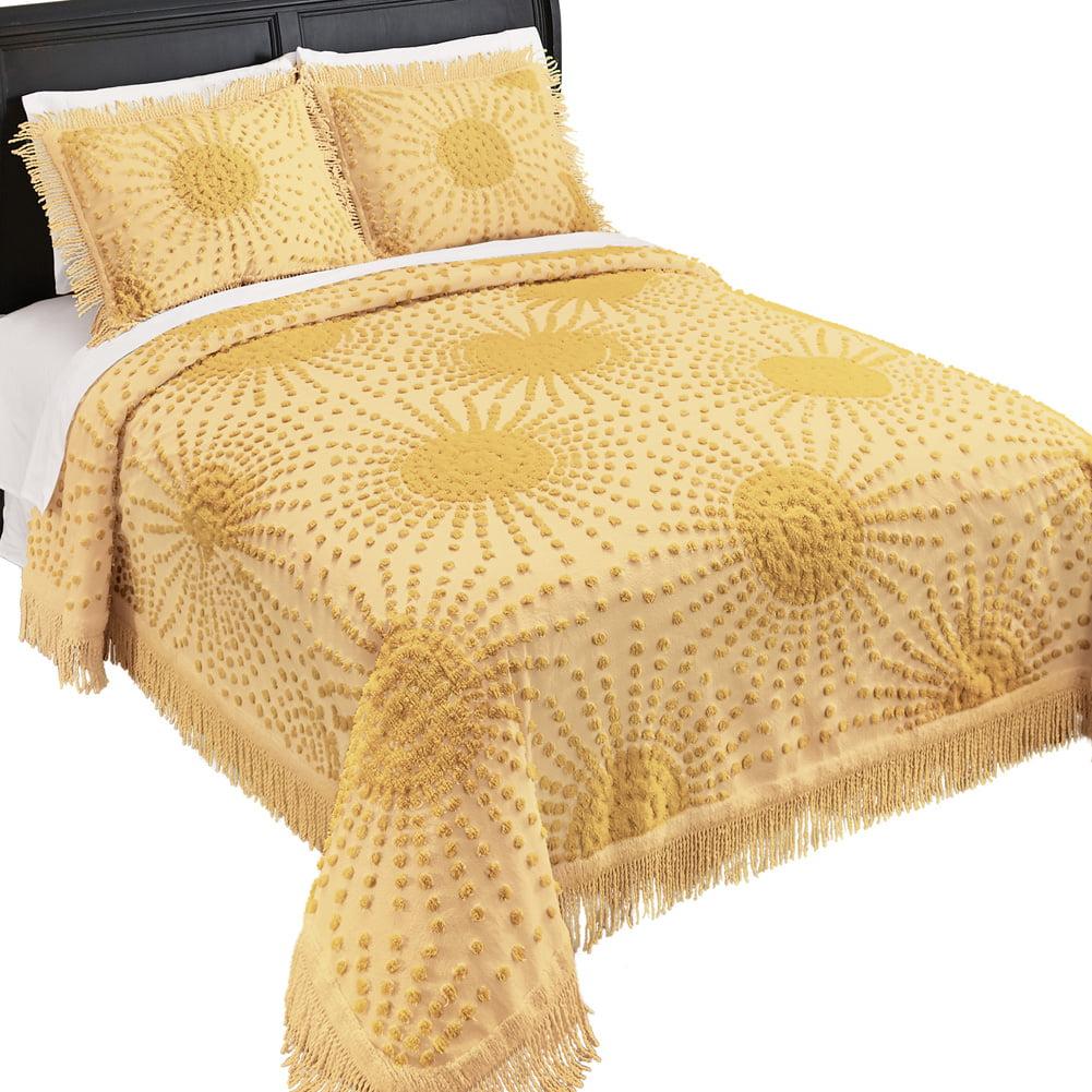 Solid-Colored Sunburst Chenille Fringe Border Bedspread - Year-Round Décor for Bedroom, King, Sage