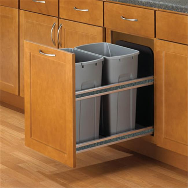 Feeny Feusc18 2 50Pt 50Qt Soft Close, Door Mount Double Bins - Platinum