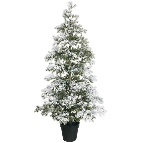 The Holiday Aisle Flocked 4.8' White/Green Pine Artificial Christmas Tree with Stand