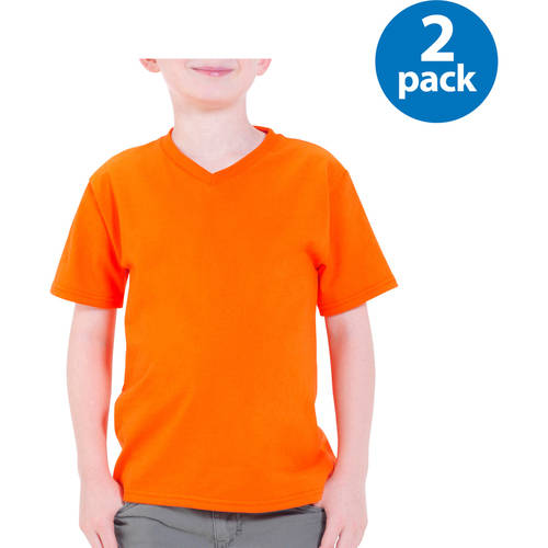 Fruit of the Loom Boys Short Sleeve V-Neck T Shirt - Your Choice 2 Pack Value Bundle