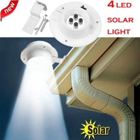Gutter Light - New 4 LED Solar Powered Gutter Light Outdoor/Garden/Yard/Wall/Fence/Pathway Lamp