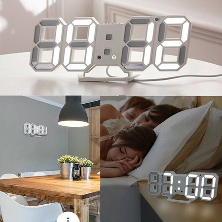 Digital 3D LED Wall Clock Alarm Snooze Watch 12/24 Hour Display USB