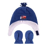 Product Image Kids Boys Sherps Lined Embroidered Fleece Hat Mitten Set Train 2be21625b841