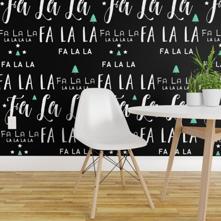 Removable Water-Activated Wallpaper Holiday Green Winter Quote Christmas ()