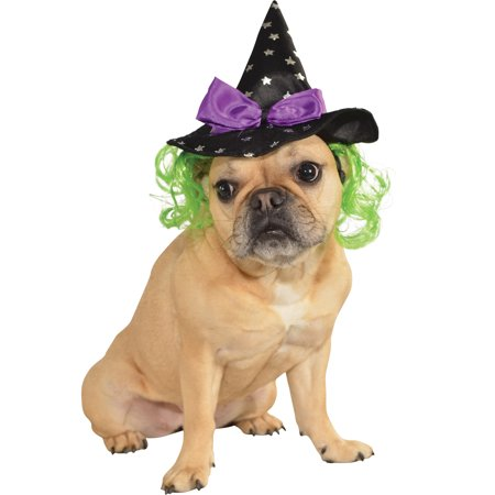 Pet Dog Cat Wicked Witch Costume Halloween Hat With Hair