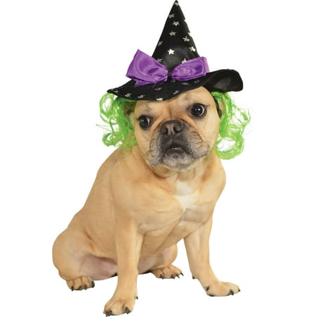 Pet Dog Cat Wicked Witch Costume Halloween Hat With Hair - Dog Bounty Hunter Halloween Costume