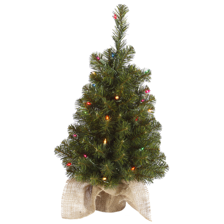 2.5' Pre-Lit Felton Pine Artificial Christmas Tree - Multi-Color Lights