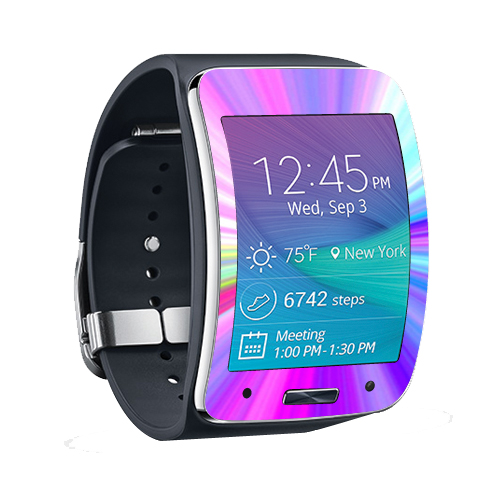 MightySkins Protective Vinyl Skin Decal for Samsung Galaxy Gear S Smart Watch cover wrap sticker skins Rainbow Zoom