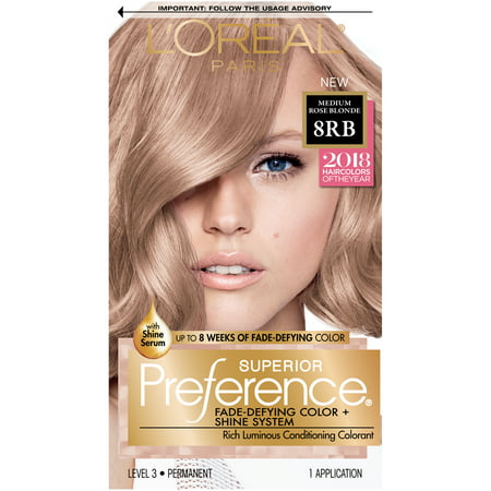 L'Oreal Paris Superior Preference Permanent Hair Color, 8RB Medium Rose