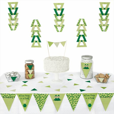 Twins Two Peas in a Pod - Triangle Baby Shower or Birthday Party Decoration Kit - 72 Pieces