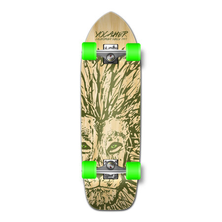 Yocaher Old School Longboard Complete - Spirit Animal Series - Lion (Longboard Series)