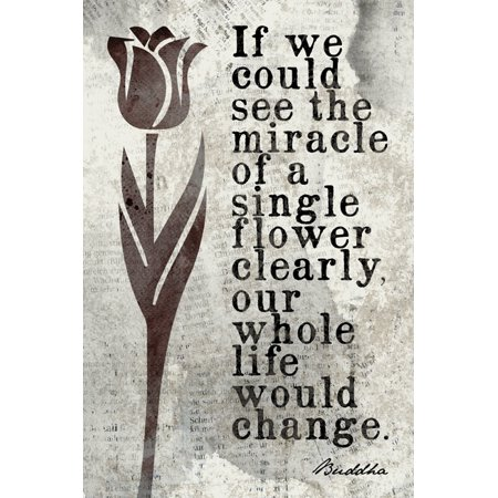 If We Could See The Miracle Of A Single Flower (Buddha Quote), mindfulness meditation poster print