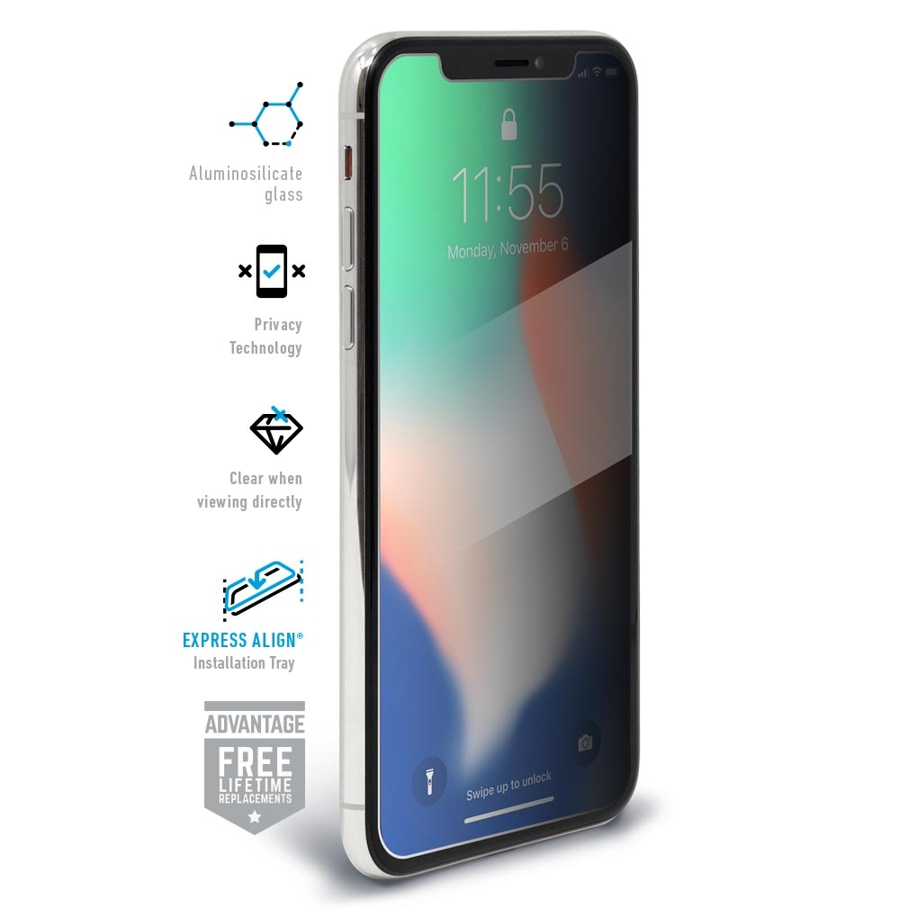 buy online 93ba6 08b7d BodyGuardz - SpyGlass 2 Privacy Tempered Glass for iPhone X ...