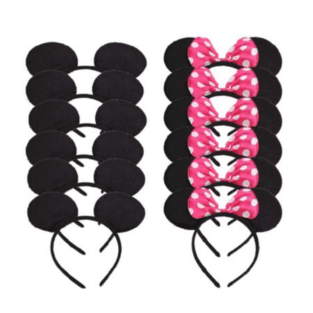 LWS LA Wholesale Store  12 Minnie Mouse Mickey Headband Black & Pink Polk Bow Birthday Party Favors