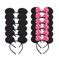 LWS LA Wholesale Store  12 Minnie Mouse Mickey Headband Black & Pink Polk Bow Birthday Party Favors
