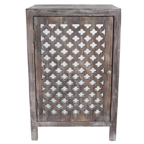 Decor Therapy Distressed Grey Quatrefoil End Table with Mirror Accent