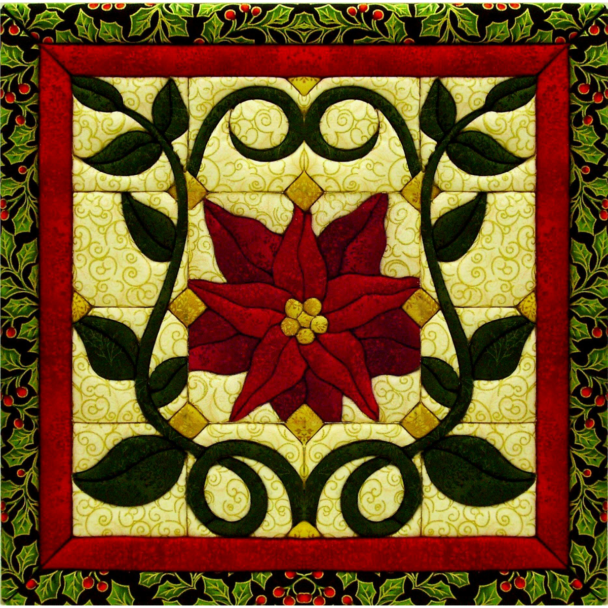 "Christmas Poinsettia Quilt Magic Kit-12""X12"""