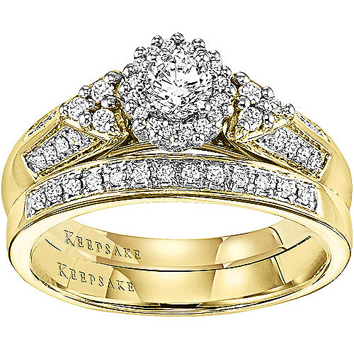 Keepsake Wings of Love 1/2 Carat T.W. Diamond 14kt Yellow Gold Bridal Set