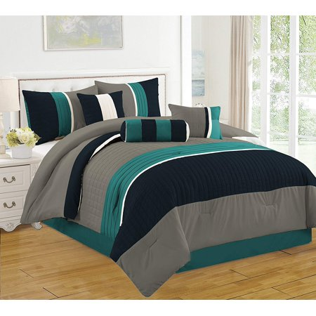 California King Bed Comforters - 7 Piece Bed in Bag Microfiber Luxury Comforter Set, California King, Blue