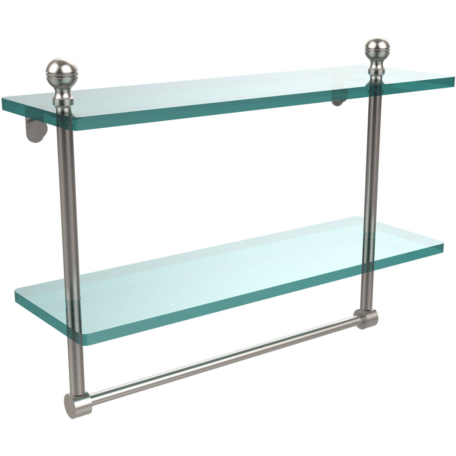 "Mambo Collection 16"" 2-Tiered Glass Shelf with Integrated Towel Bar (Build to Order)"