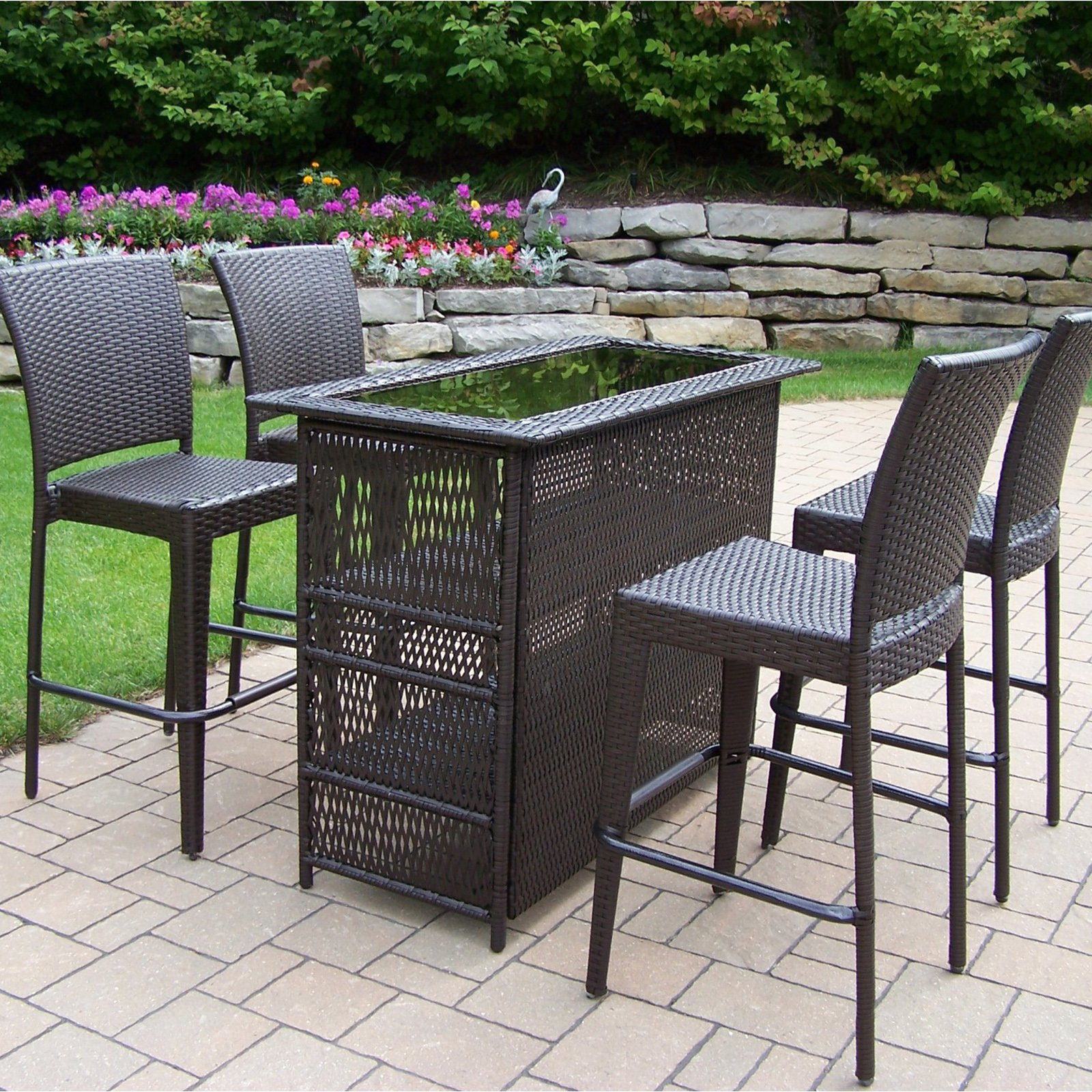 Oakland Living All Weather Wicker Patio Bar Set