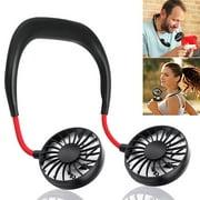 Gohope Hand Free Personal Fan - Portable USB Battery Rechargeable Mini Fan - Headphone Design Wearable Neckband Fan Necklance Fan Cooler Fan with Dual Wind Head for Traveling Outdoor Office Room