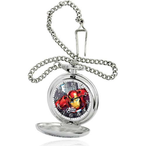 Marvel Iron Man Men's Silver Pocket Watch, Silver Chain
