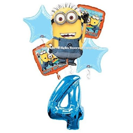 DESPICABLE ME MINIONS 4TH BIRTHDAY BALLOONS BIRTHDAY PARTY BALLOONS BOUQUET DECORATIONS SUPPLIES BLUE NUMBER 4](Birthday Minions)
