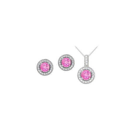 September Birthstone Pink Sapphire with CZ Halo Earrings and Pendant in 14K White Gold - image 2 of 2