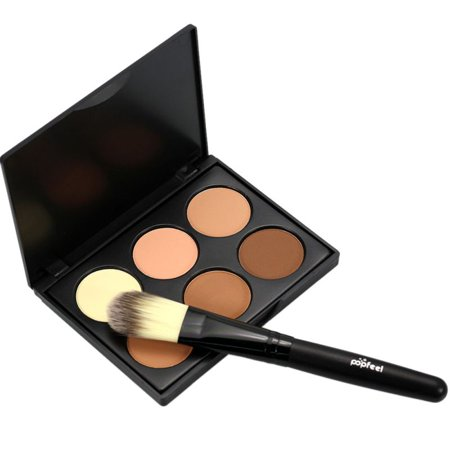 AngelCity Pro Makeup Compact Face Contour Mineral Pressed Powder Palette Set With Brush