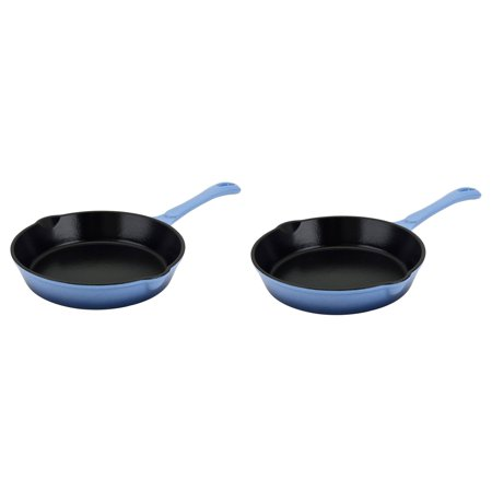 Hamilton Beach Blue 8 Inch Enameled Coated Cast Iron Frying Pan Skillet (2 Pack)