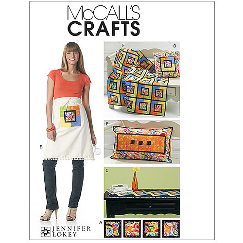 McCall's Pattern Coasters, Apron, Runner, Pilllows and Lap Quilt, 1 Size Only