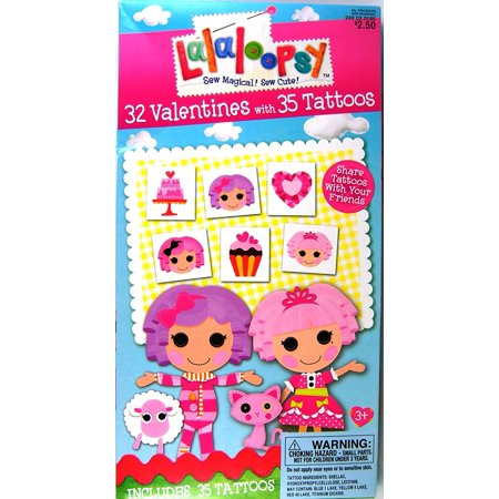 Lalaloopsy 32 Valentines with 35 Tattoos, Contains 32 Valentines with 35 Tattoos By Paper Magic Ship from US - Valentine Tattoo