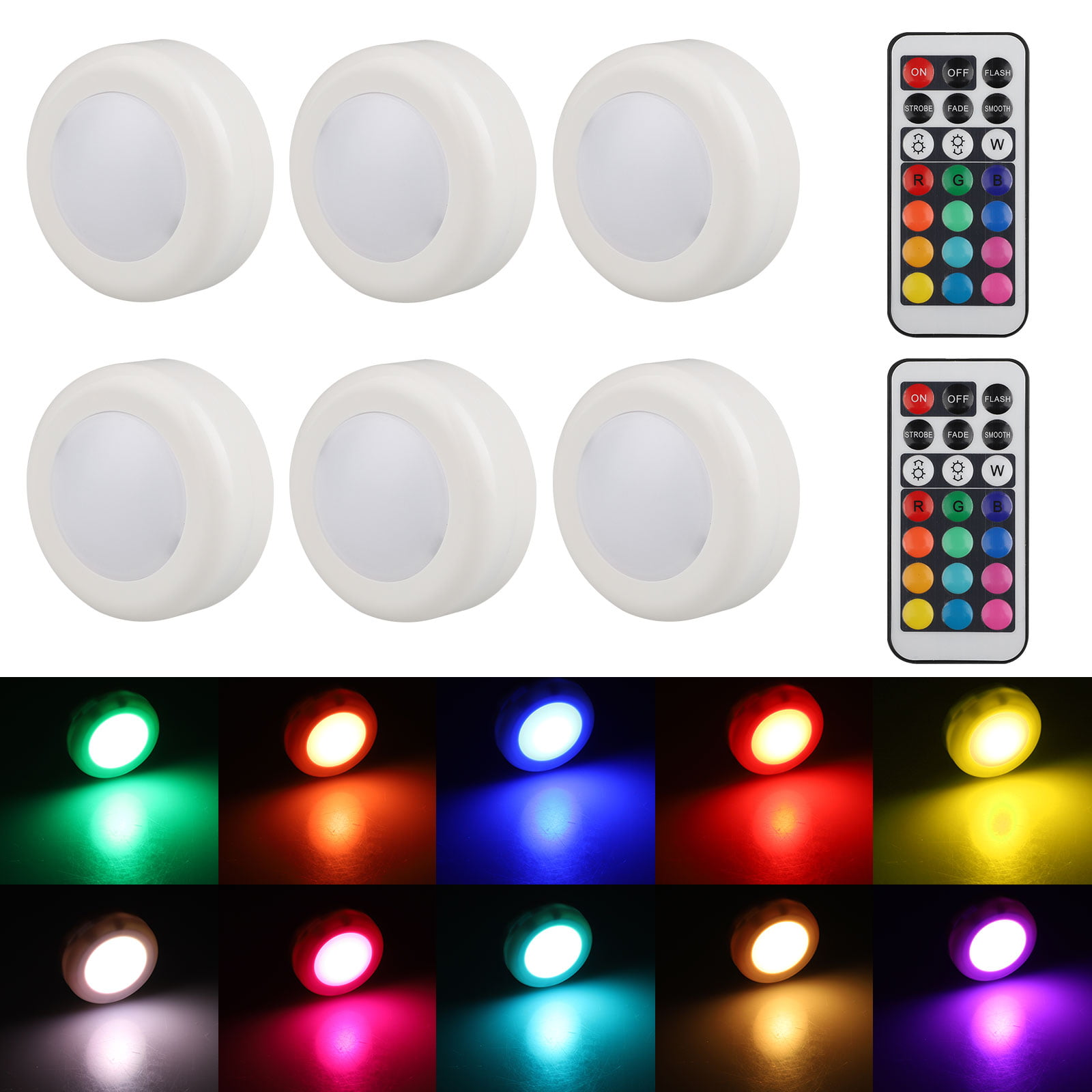 Yundap 6 Pack Wireless Led Puck Lights Color Changing Led Under Cabinet Lighting With Remote Control Battery Powered Dimmable Closet Kitchen Lights Under Counter Lighting Stick On Lights Walmart Canada