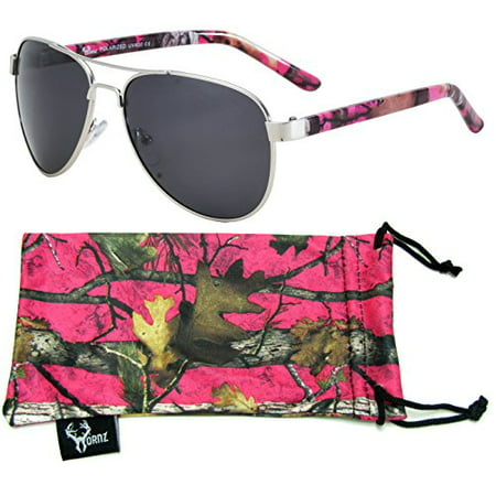 Rooly Free Sunglasses (Hot Pink Camouflage Polarized Aviator Sunglasses for Women & Free Matching Microfiber Pouch - Small to Medium Face Size - Hot Pink Camo Frame - Smoke Lens )