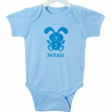 Personalized Baby Boys' Springtime Easter Bodysuit, Blue Bunny