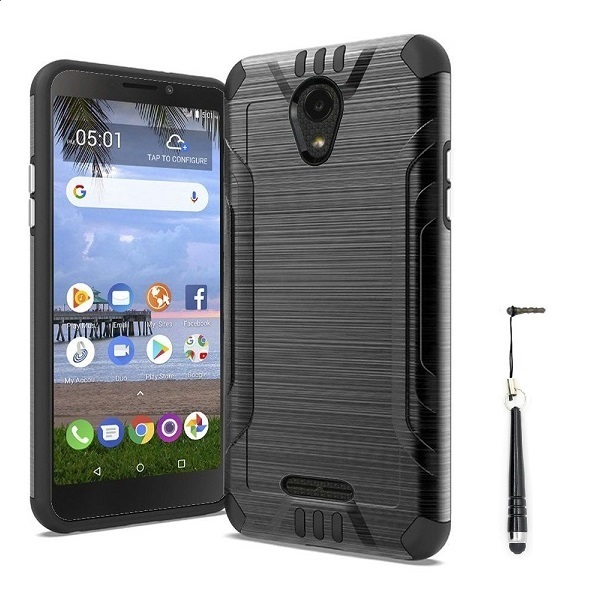 Tracfone Compatible Smartphones >> Compatible Case For Alcatel Tcl A1 Tracfone Alcatel Tcl A1 Prepaid Smartphone Alcatel Tcl A1 Simple Mobile Metallic Brushed Design Shockproof