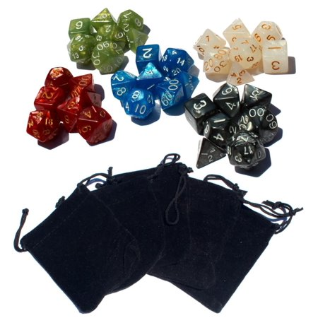 Trik Topz Dice - 35 Polyhedral Dice | 5 Sets of Dice for Dungeons & Dragons and Other RPG's