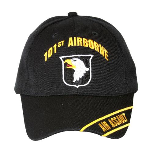 Military 101st Airborne Air Assault Adjustable Hook and Loop Closure Hat- Black