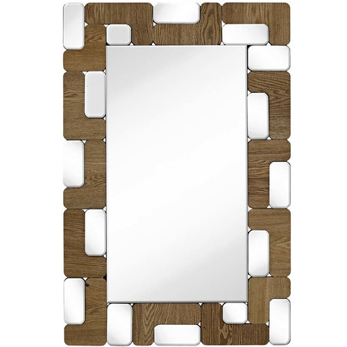 Majestic Mirror Rectangular Mirror Light Walnut Wood Beveled Glass Hanging Wall Mirror by Majestic Mirror