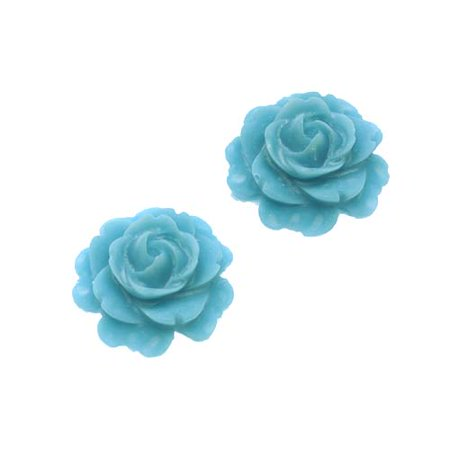 Lucite 3-D Cabochon Bead Dusty Blue Flower Rose 15mm/2