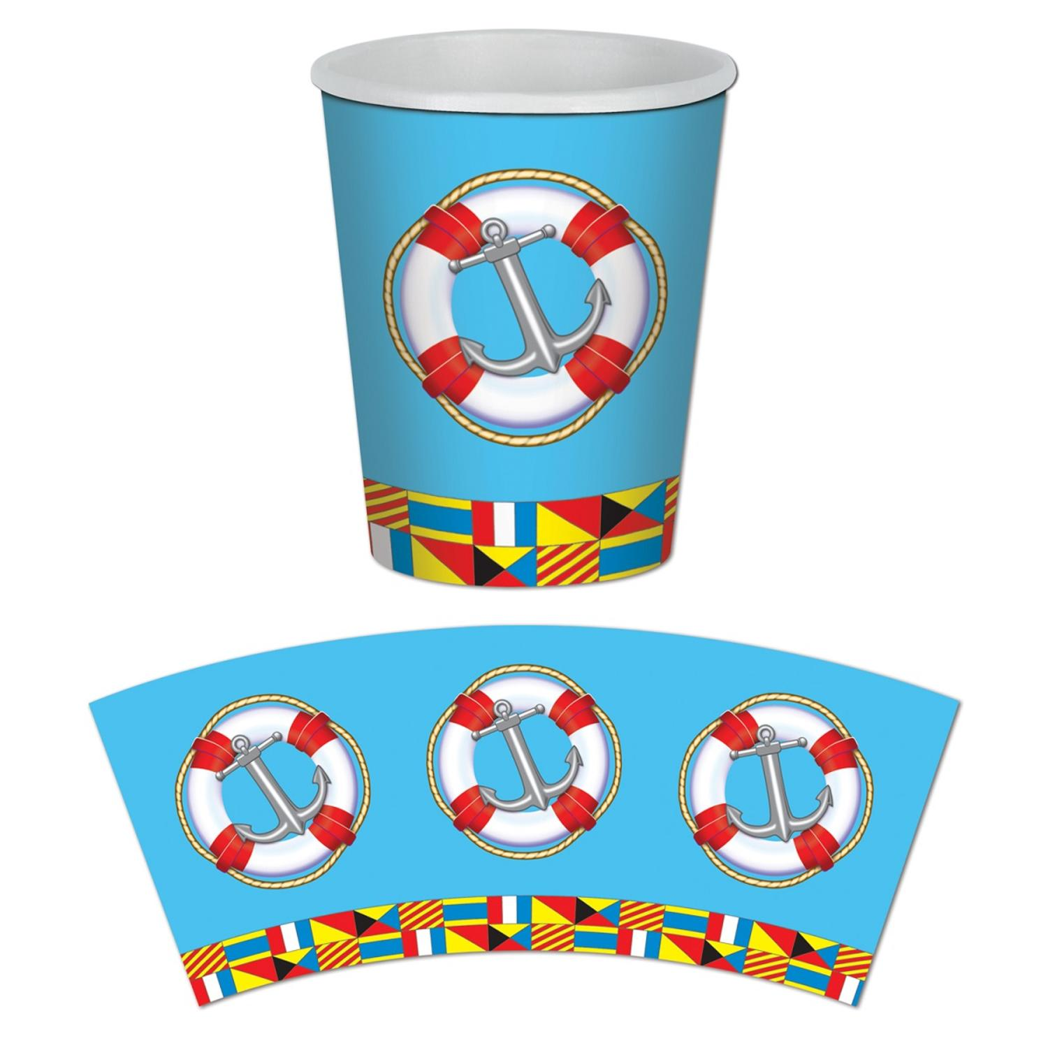 Club Pack of 96 Disposable Paper Hot and Cold Nautical Beverage Cups 9 oz.