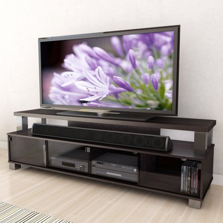 CorLiving B-003-RBT Bromley 75 in. 2 Tier TV Bench - Ravenwood Black