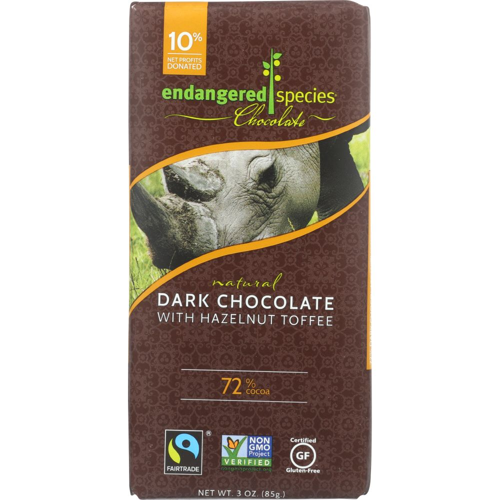 Endangered Species Black Rhino, Natural Dark Chocolate With Hazelnut Toffee (72% Cocoa),... by