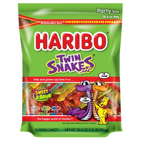 (2 pack) Haribo, Twin Snakes Gummi Candy, 28.8 Oz
