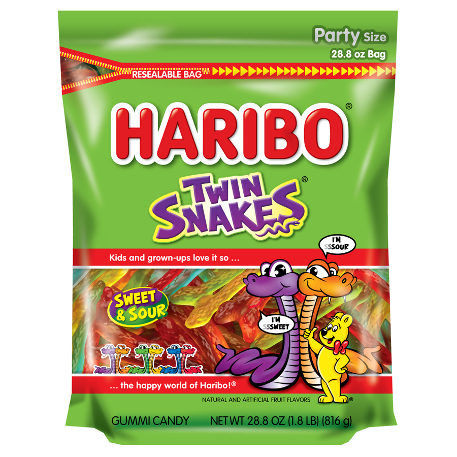 Haribo Twin Snakes Sweet & Sour Gummi Candies Party Size, 28.8 Oz.